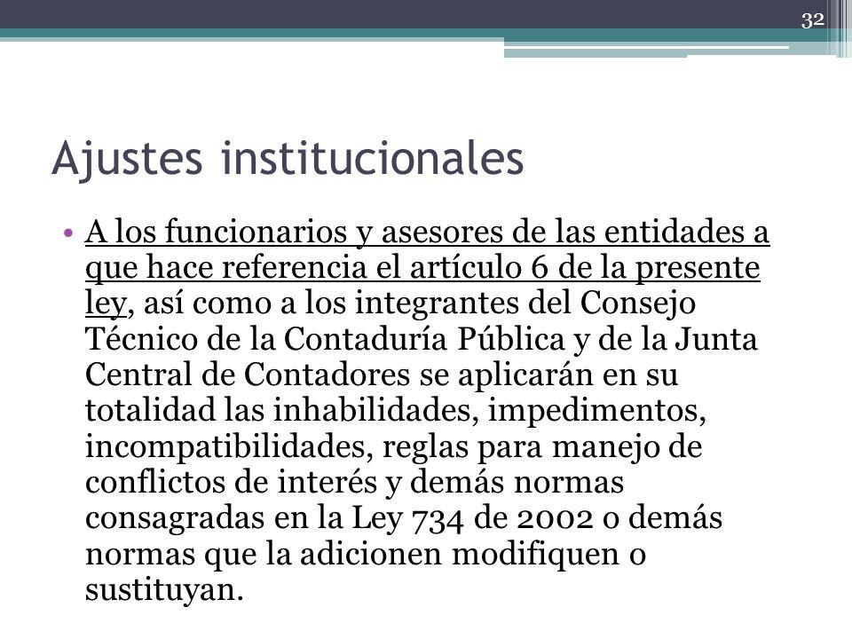 Ajustes institucionales A los funcionarios y asesores de las entidades a que hace referencia el artículo 6 de la presente ley, así como a los integran