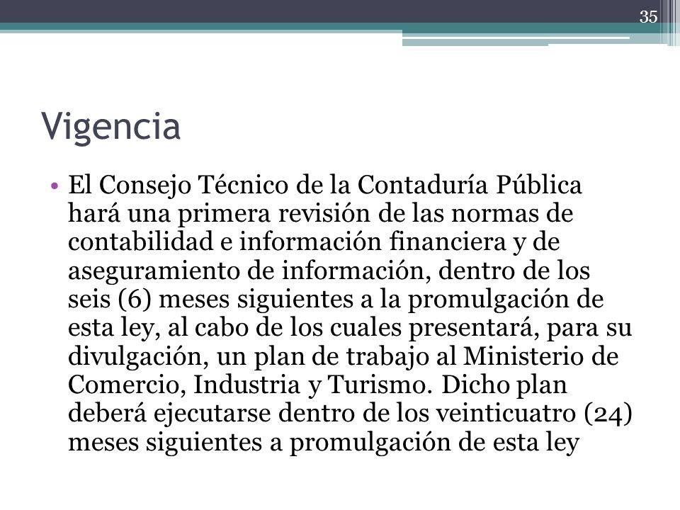 Vigencia El Consejo Técnico de la Contaduría Pública hará una primera revisión de las normas de contabilidad e información financiera y de aseguramien