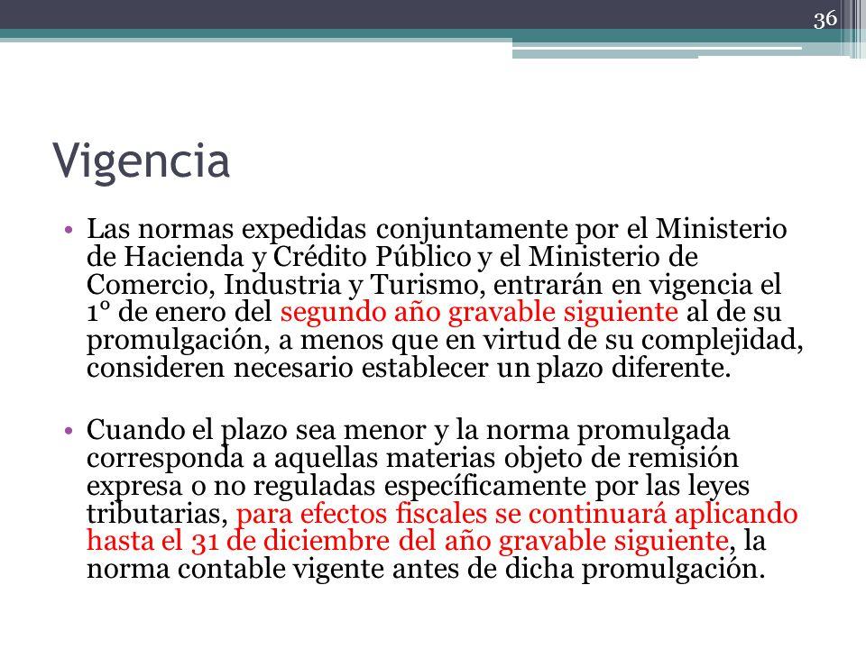 Vigencia Las normas expedidas conjuntamente por el Ministerio de Hacienda y Crédito Público y el Ministerio de Comercio, Industria y Turismo, entrarán