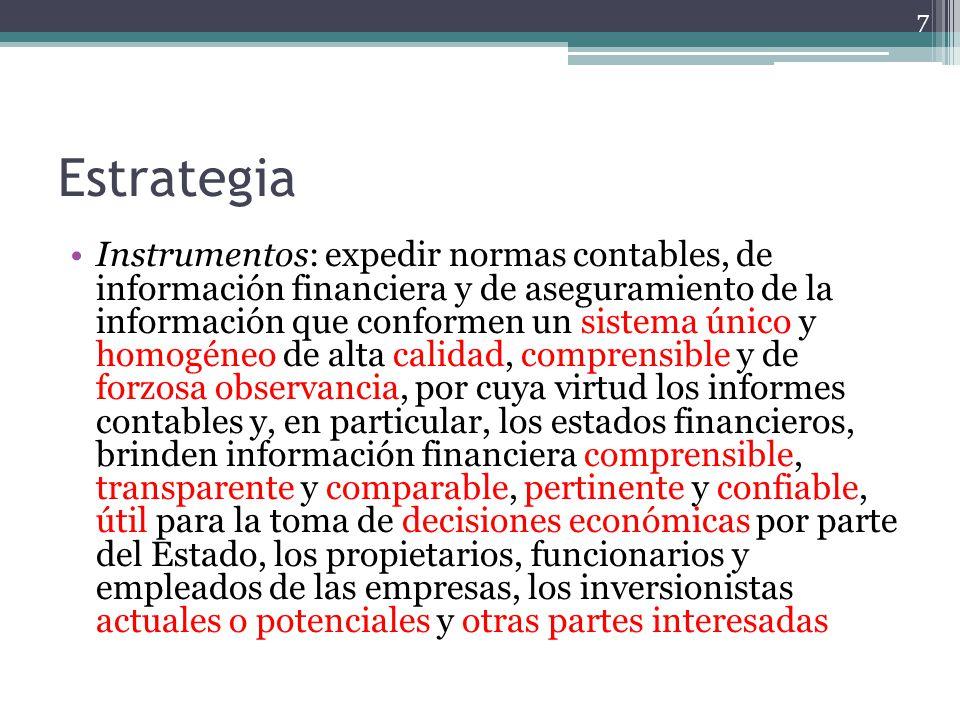 Estrategia Instrumentos: expedir normas contables, de información financiera y de aseguramiento de la información que conformen un sistema único y hom