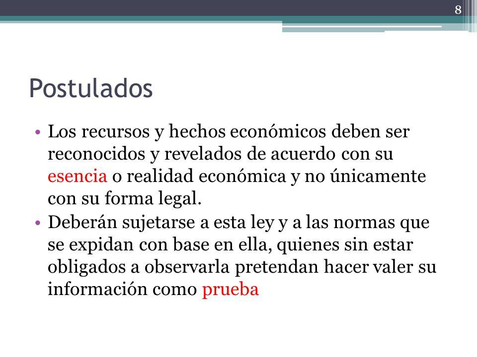 Postulados Los recursos y hechos económicos deben ser reconocidos y revelados de acuerdo con su esencia o realidad económica y no únicamente con su fo
