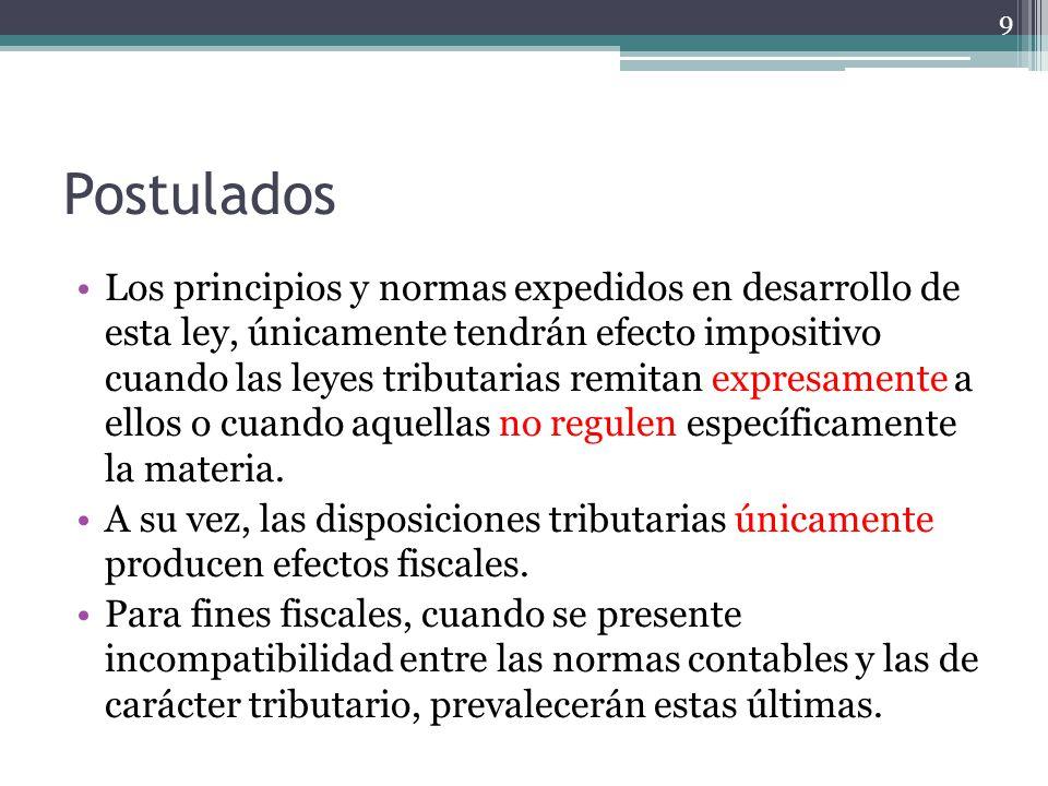 Postulados Los principios y normas expedidos en desarrollo de esta ley, únicamente tendrán efecto impositivo cuando las leyes tributarias remitan expr