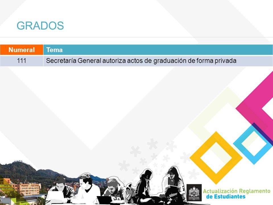 GRADOS NumeralTema 111Secretaría General autoriza actos de graduación de forma privada