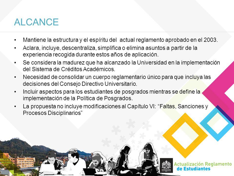 ALCANCE Mantiene la estructura y el espíritu del actual reglamento aprobado en el 2003.