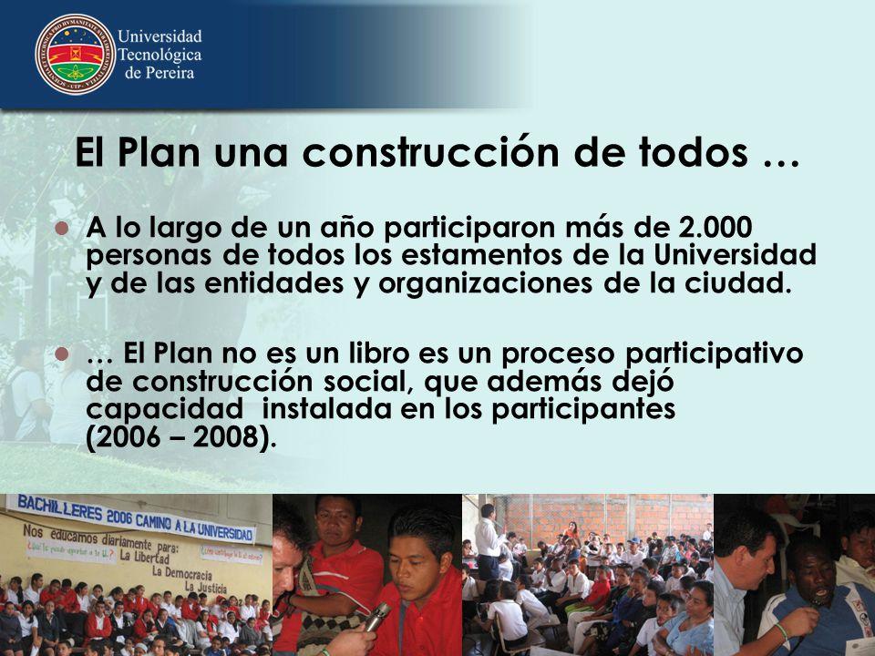 El Plan una construcción de todos … A lo largo de un año participaron más de 2.000 personas de todos los estamentos de la Universidad y de las entidad
