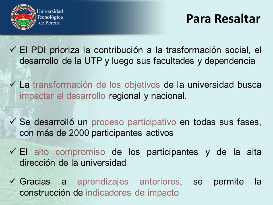 Para Resaltar El PDI prioriza la contribución a la trasformación social, el desarrollo de la UTP y luego sus facultades y dependencia La transformació
