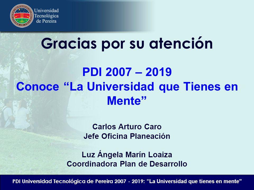 Gracias por su atención PDI 2007 – 2019 Conoce La Universidad que Tienes en Mente Carlos Arturo Caro Jefe Oficina Planeación Luz Ángela Marín Loaiza C
