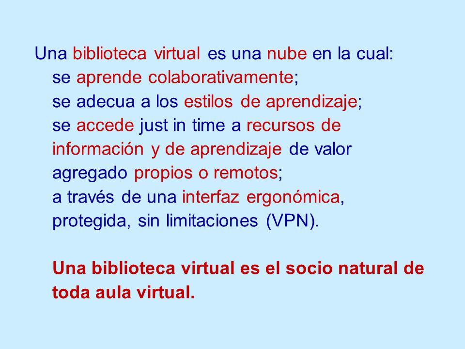 Una biblioteca virtual es una nube en la cual: se aprende colaborativamente; se adecua a los estilos de aprendizaje; se accede just in time a recursos