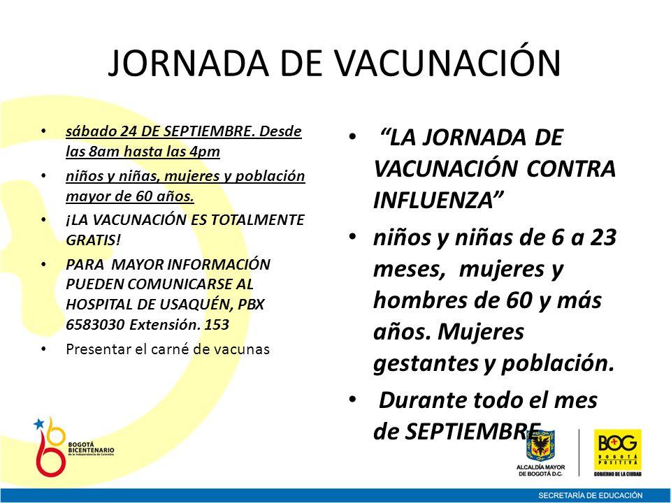 JORNADA DE VACUNACIÓN sábado 24 DE SEPTIEMBRE.