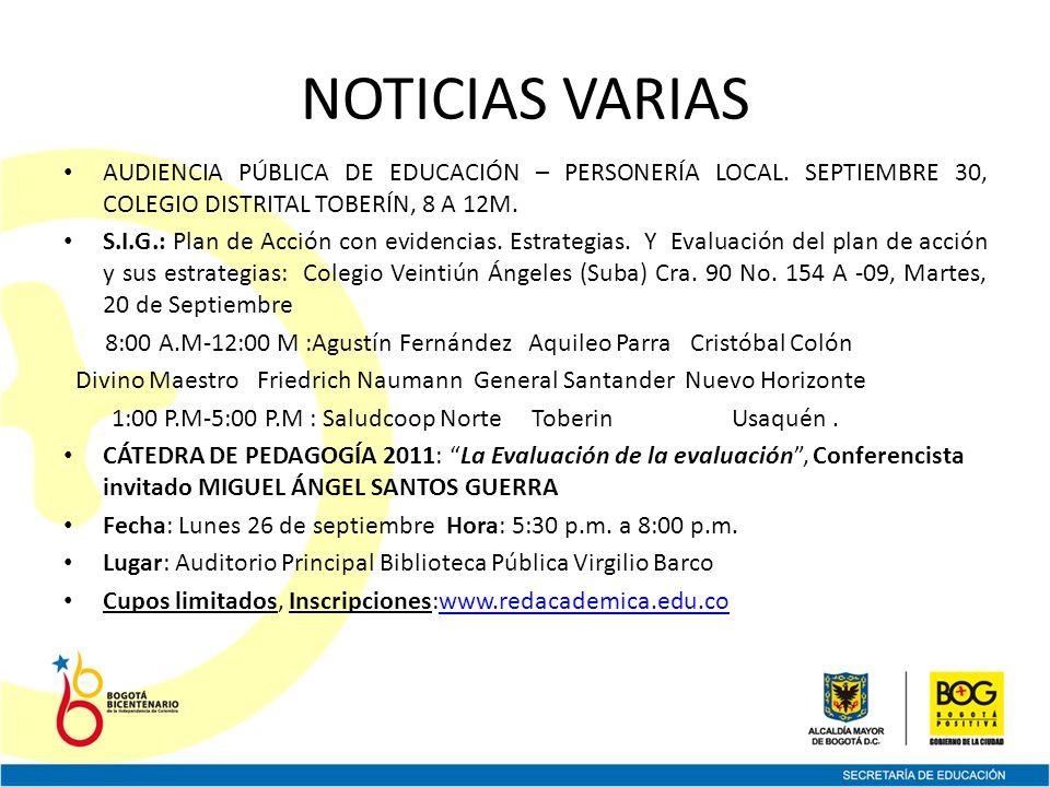 NOTICIAS VARIAS AUDIENCIA PÚBLICA DE EDUCACIÓN – PERSONERÍA LOCAL.