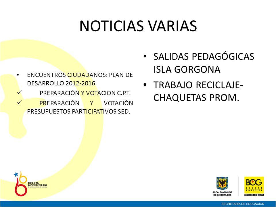 NOTICIAS VARIAS ENCUENTROS CIUDADANOS: PLAN DE DESARROLLO 2012-2016 PREPARACIÓN Y VOTACIÓN C.P.T.