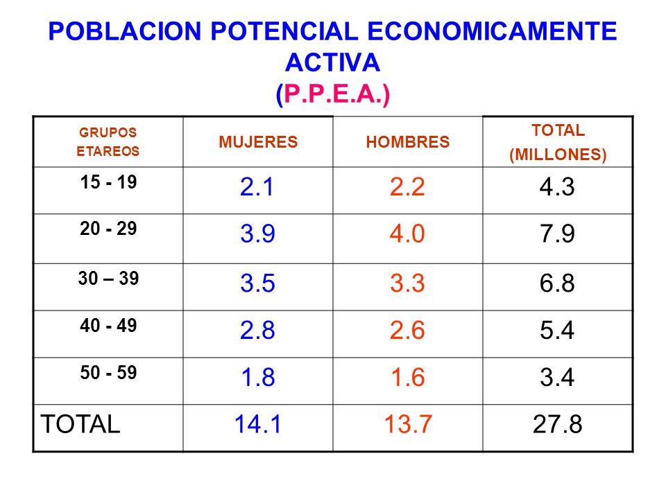 POBLACION POTENCIAL ECONOMICAMENTE ACTIVA (P.P.E.A.) GRUPOS ETAREOS MUJERESHOMBRES TOTAL (MILLONES) 15 - 19 2.12.24.3 20 - 29 3.94.07.9 30 – 39 3.53.3