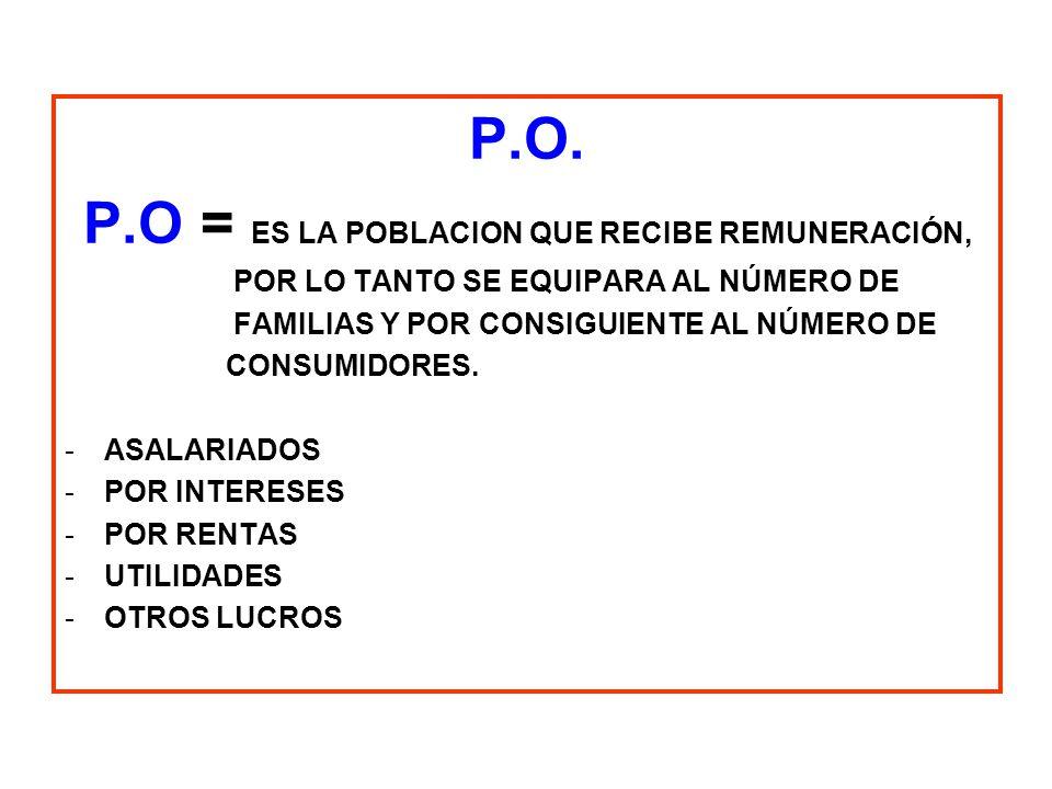 P.O. P.O = ES LA POBLACION QUE RECIBE REMUNERACIÓN, POR LO TANTO SE EQUIPARA AL NÚMERO DE FAMILIAS Y POR CONSIGUIENTE AL NÚMERO DE CONSUMIDORES. -ASAL