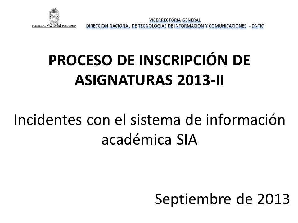 PROCESO DE INSCRIPCIÓN DE ASIGNATURAS 2013-II Incidentes con el sistema de información académica SIA Septiembre de 2013