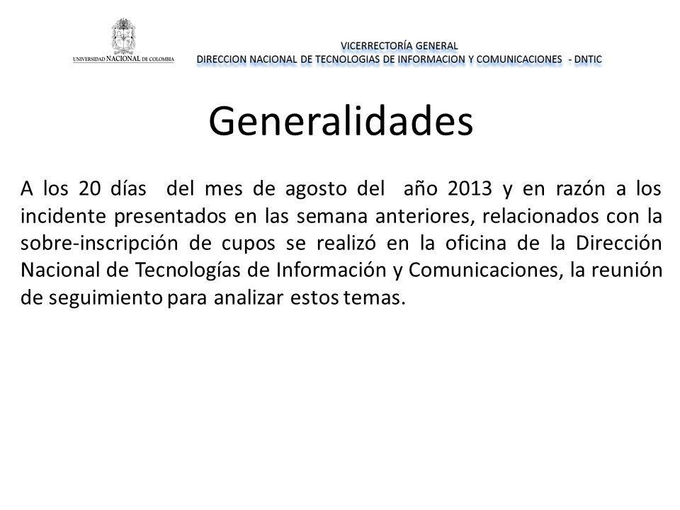 Generalidades A los 20 días del mes de agosto del año 2013 y en razón a los incidente presentados en las semana anteriores, relacionados con la sobre-