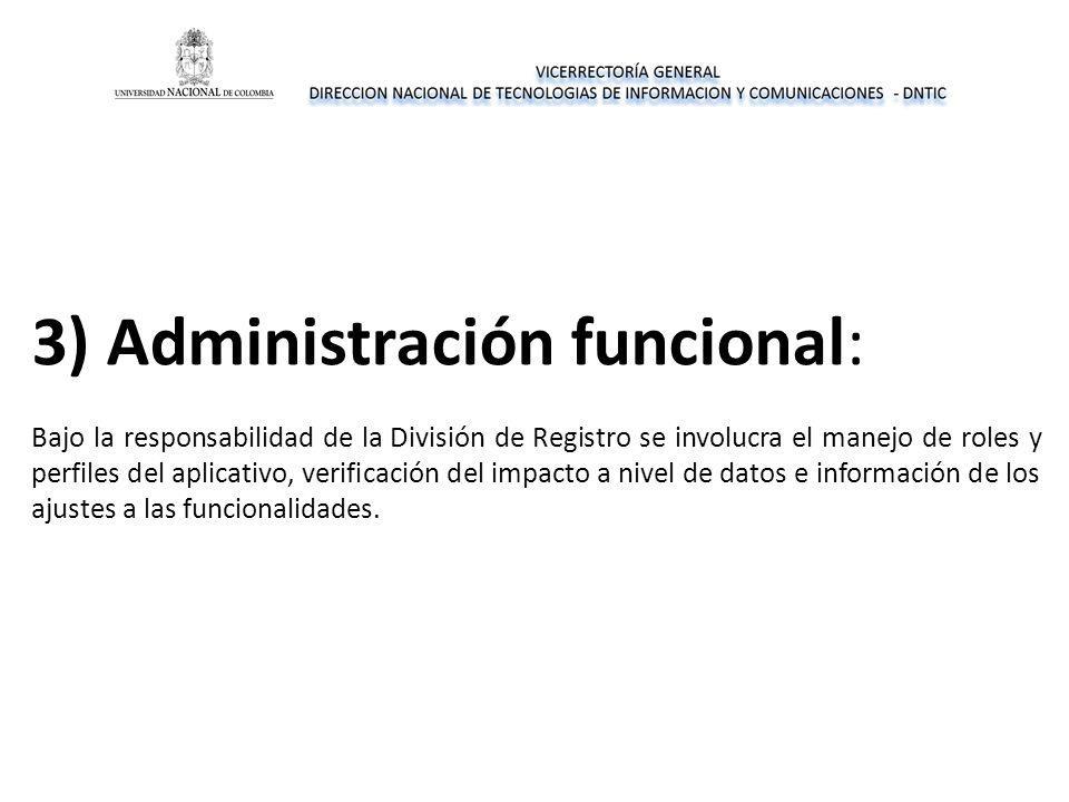 3) Administración funcional: Bajo la responsabilidad de la División de Registro se involucra el manejo de roles y perfiles del aplicativo, verificación del impacto a nivel de datos e información de los ajustes a las funcionalidades.
