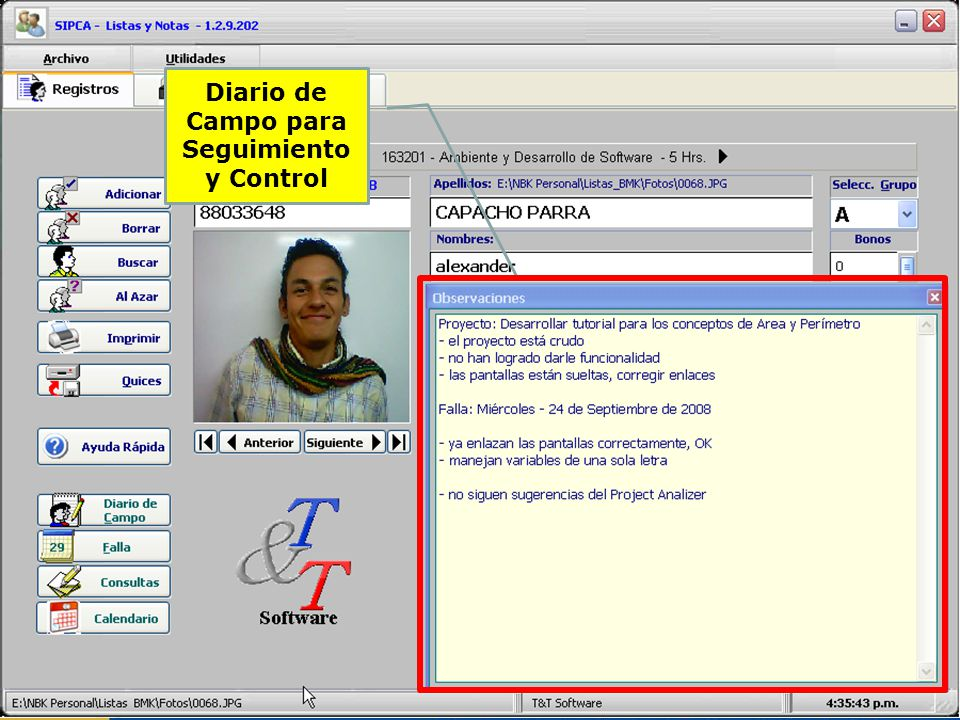 Diario de Campo para Seguimiento y Control