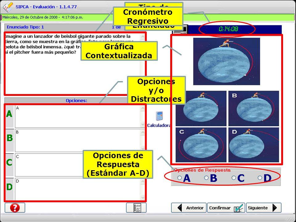 Tipo de Pregunta y Enunciado Opciones y/o Distractores Cronómetro Regresivo Gráfica Contextualizada Opciones de Respuesta (Estándar A-D)