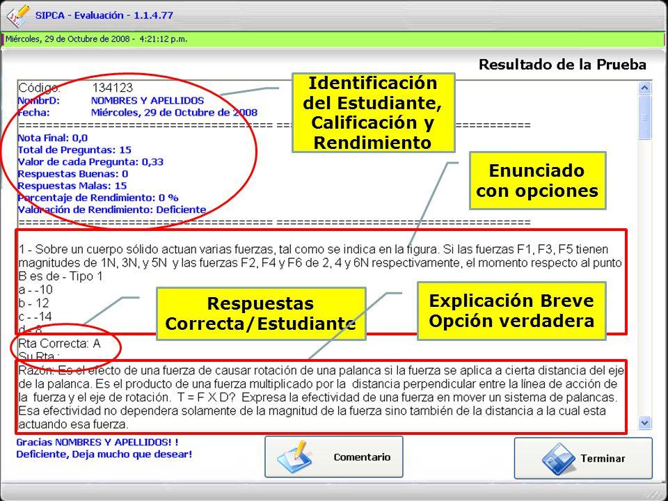 Identificación del Estudiante, Calificación y Rendimiento Enunciado con opciones Respuestas Correcta/Estudiante Explicación Breve Opción verdadera