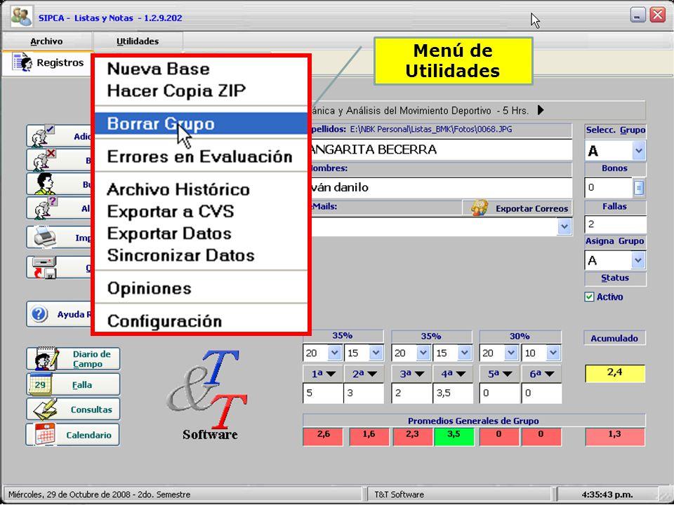 Configuración de Listas y Reportes Identificar Institución Edición de Información Asignaturas Edición de Información Profesor Nota Máxima, Porcentajes y Correos Información General del Sistema