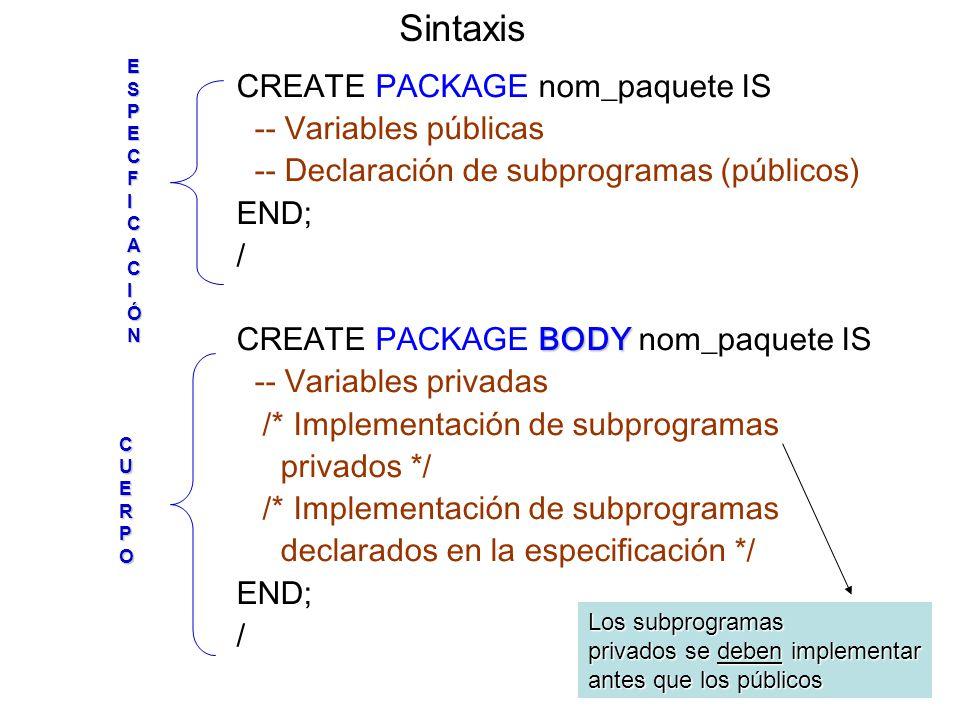 CREATE PACKAGE nom_paquete IS -- Variables públicas -- Declaración de subprogramas (públicos) END; / BODY CREATE PACKAGE BODY nom_paquete IS -- Variables privadas /* Implementación de subprogramas privados */ /* Implementación de subprogramas declarados en la especificación */ END; / SintaxisESPECFICACIÓN CUERPO Los subprogramas privados se deben implementar antes que los públicos
