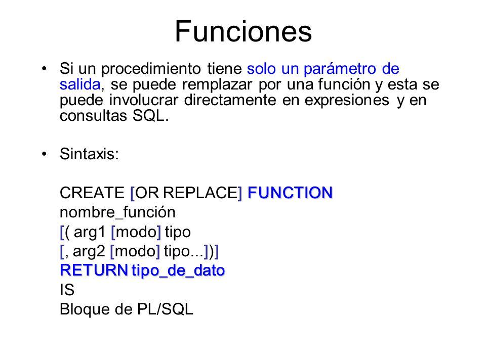 Funciones Si un procedimiento tiene solo un parámetro de salida, se puede remplazar por una función y esta se puede involucrar directamente en expresiones y en consultas SQL.