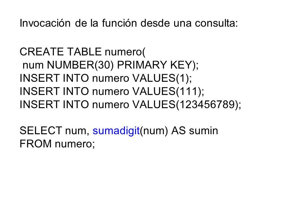 Invocación de la función desde una consulta: CREATE TABLE numero( num NUMBER(30) PRIMARY KEY); INSERT INTO numero VALUES(1); INSERT INTO numero VALUES(111); INSERT INTO numero VALUES(123456789); SELECT num, sumadigit(num) AS sumin FROM numero;