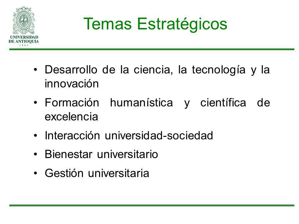 Desarrollo de la ciencia, la tecnología y la innovación Formación humanística y científica de excelencia Interacción universidad-sociedad Bienestar un