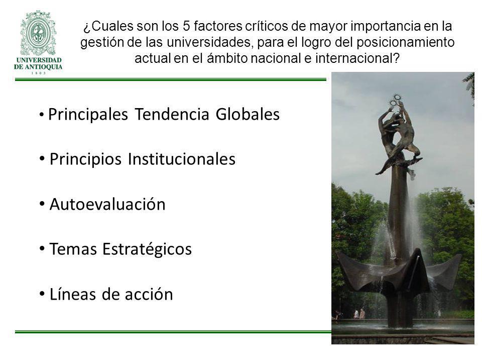 Principales Tendencia Globales Principios Institucionales Autoevaluación Temas Estratégicos Líneas de acción ¿Cuales son los 5 factores críticos de ma