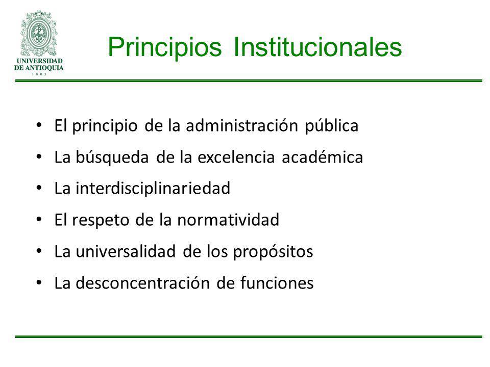 Principios Institucionales El principio de la administración pública La búsqueda de la excelencia académica La interdisciplinariedad El respeto de la