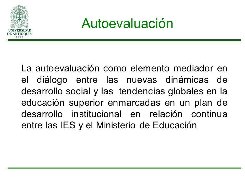 Autoevaluación La autoevaluación como elemento mediador en el diálogo entre las nuevas dinámicas de desarrollo social y las tendencias globales en la