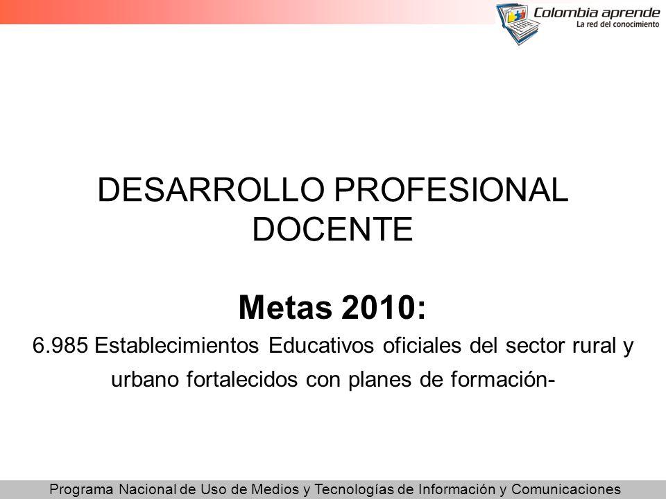 Programa Nacional de Uso de Medios y Tecnologías de Información y Comunicaciones DESARROLLO PROFESIONAL DOCENTE Metas 2010: 6.985 Establecimientos Edu