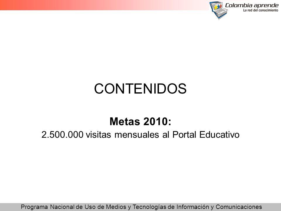Programa Nacional de Uso de Medios y Tecnologías de Información y Comunicaciones CONTENIDOS Metas 2010: 2.500.000 visitas mensuales al Portal Educativ
