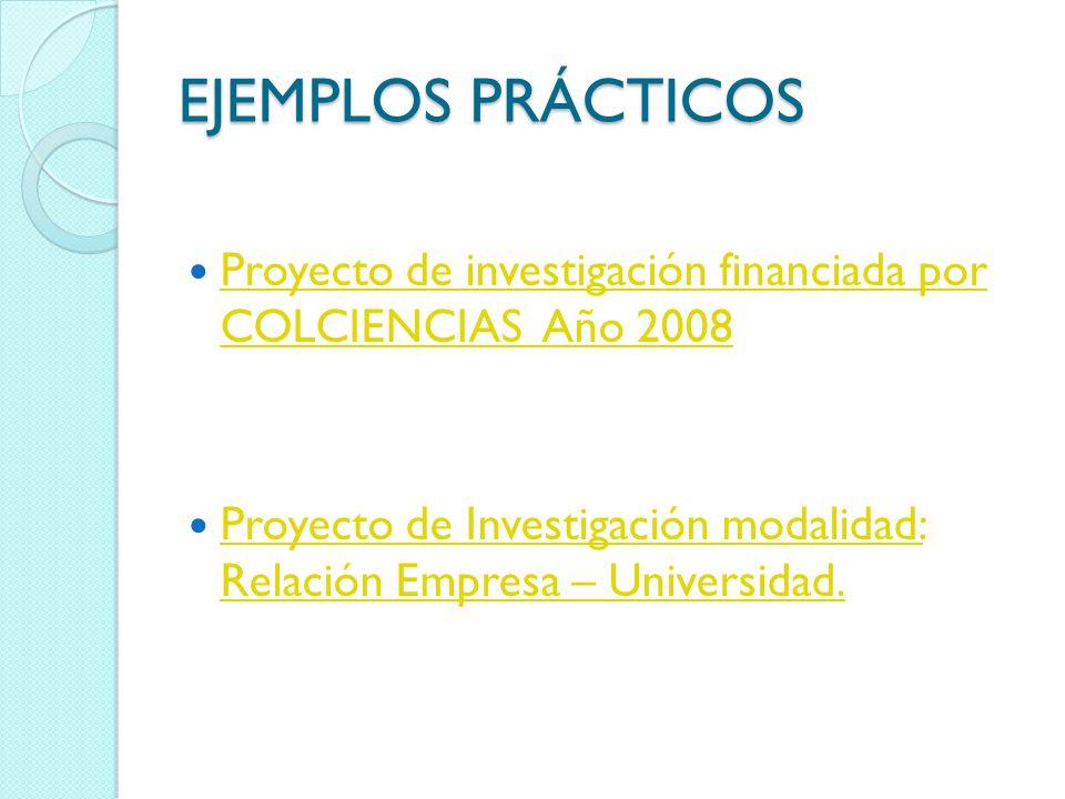 EJEMPLOS PRÁCTICOS Proyecto de investigación financiada por COLCIENCIAS Año 2008 Proyecto de investigación financiada por COLCIENCIAS Año 2008 Proyect