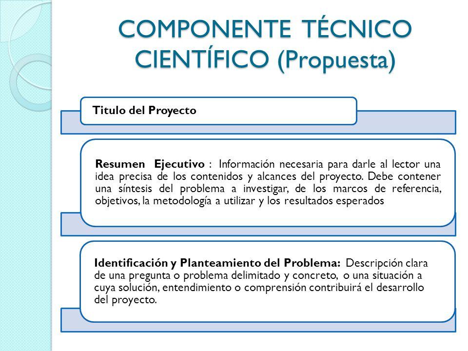COMPONENTE TÉCNICO CIENTÍFICO (Propuesta) Titulo del Proyecto Resumen Ejecutivo : Información necesaria para darle al lector una idea precisa de los c