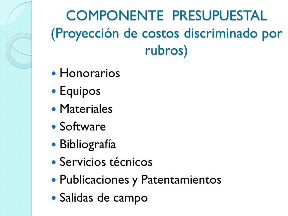 COMPONENTE PRESUPUESTAL (Proyección de costos discriminado por rubros) Honorarios Equipos Materiales Software Bibliografía Servicios técnicos Publicac
