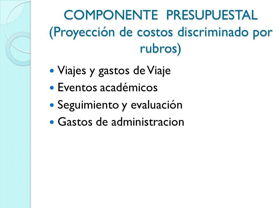 COMPONENTE PRESUPUESTAL (Proyección de costos discriminado por rubros) Viajes y gastos de Viaje Eventos académicos Seguimiento y evaluación Gastos de