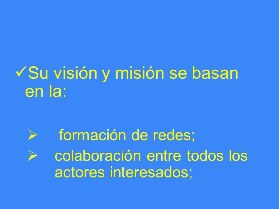Su visión y misión se basan en la: formación de redes; colaboración entre todos los actores interesados;