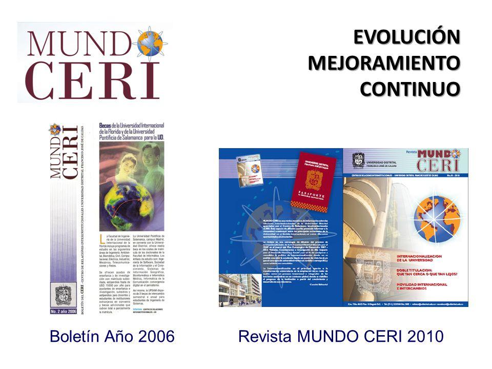 EVOLUCIÓN MEJORAMIENTO CONTINUO Boletín Año 2006 Revista MUNDO CERI 2010