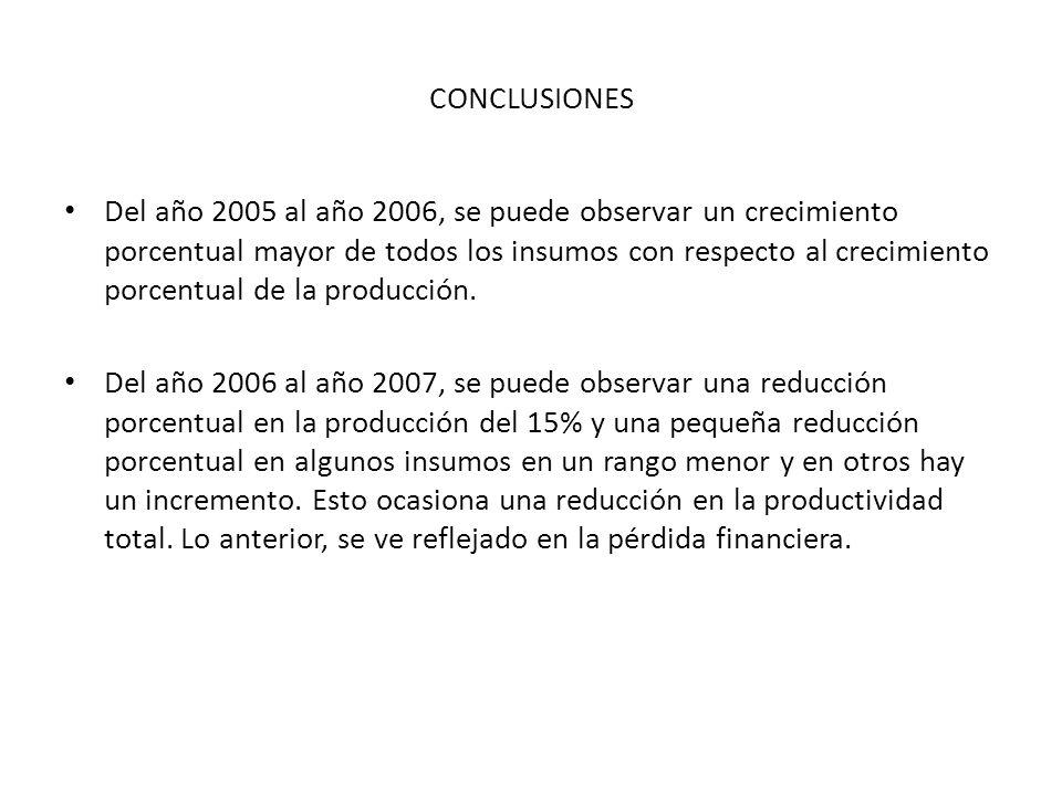 CONCLUSIONES Del año 2005 al año 2006, se puede observar un crecimiento porcentual mayor de todos los insumos con respecto al crecimiento porcentual d