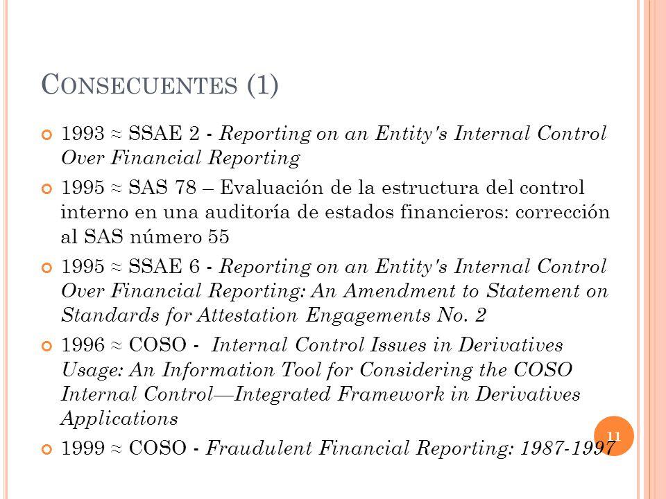 C ONSECUENTES (1) 1993 SSAE 2 - Reporting on an Entity's Internal Control Over Financial Reporting 1995 SAS 78 – Evaluación de la estructura del contr