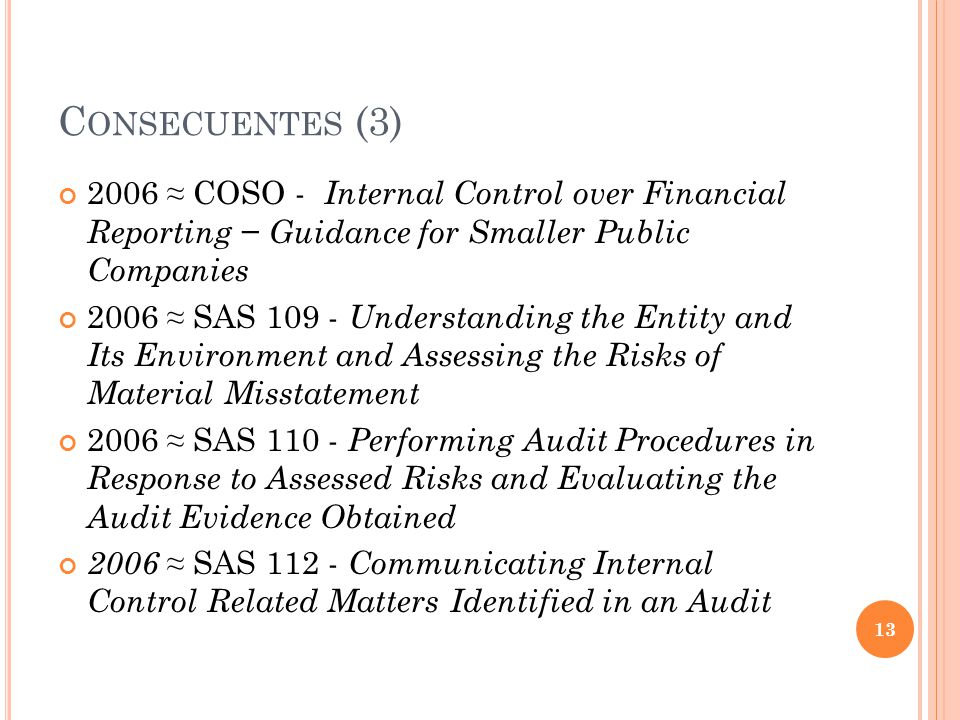 C ONSECUENTES (3) 2006 COSO - Internal Control over Financial Reporting Guidance for Smaller Public Companies 2006 SAS 109 - Understanding the Entity and Its Environment and Assessing the Risks of Material Misstatement 2006 SAS 110 - Performing Audit Procedures in Response to Assessed Risks and Evaluating the Audit Evidence Obtained 2006 SAS 112 - Communicating Internal Control Related Matters Identified in an Audit 13