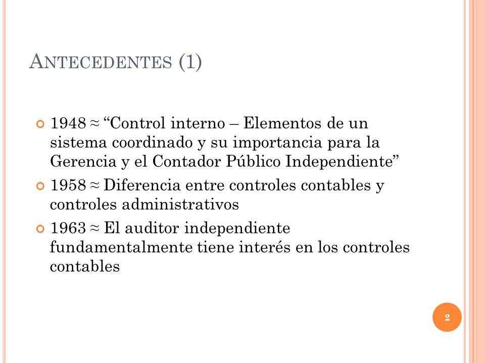 A NTECEDENTES (2) 1970 Investigaciones de la Office of the Watergate Special Prosecutor y de la SEC 1972 SAS 1 – Sección 320 Estudio y evaluación del control interno por el auditor 1974 SAS 3 – Los efectos del PED sobre el estudio y evaluación del control interno del auditor 1975 SAS 9 – El efecto de la función de la auditoría interna en el alcance del examen del auditor independiente 3