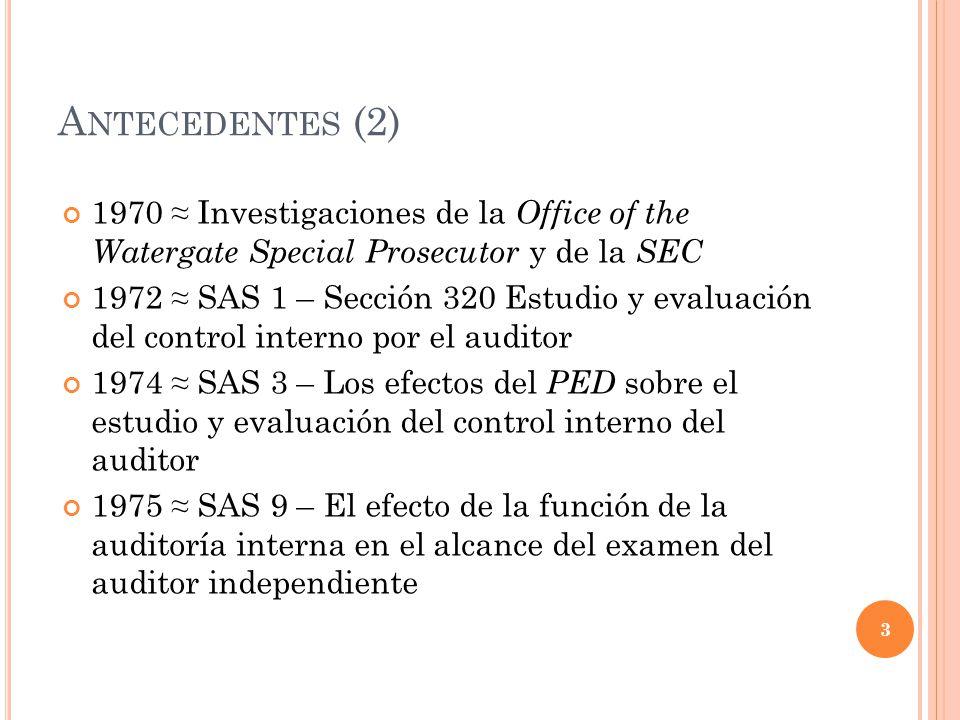 A NTECEDENTES (2) 1970 Investigaciones de la Office of the Watergate Special Prosecutor y de la SEC 1972 SAS 1 – Sección 320 Estudio y evaluación del