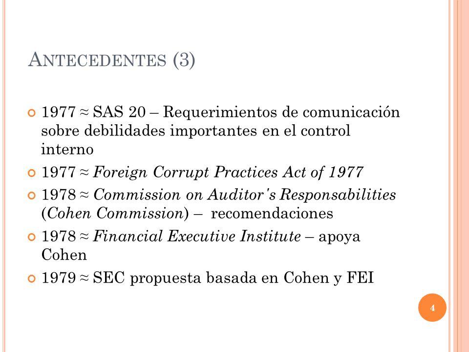 A NTECEDENTES (3) 1977 SAS 20 – Requerimientos de comunicación sobre debilidades importantes en el control interno 1977 Foreign Corrupt Practices Act