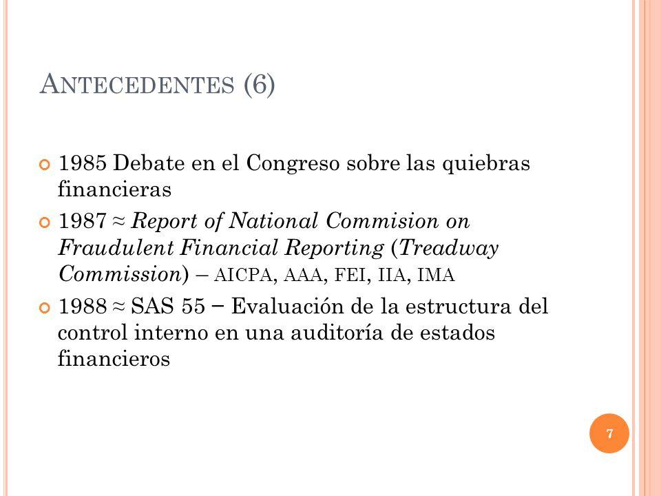 A NTECEDENTES (6) 1985 Debate en el Congreso sobre las quiebras financieras 1987 Report of National Commision on Fraudulent Financial Reporting ( Trea