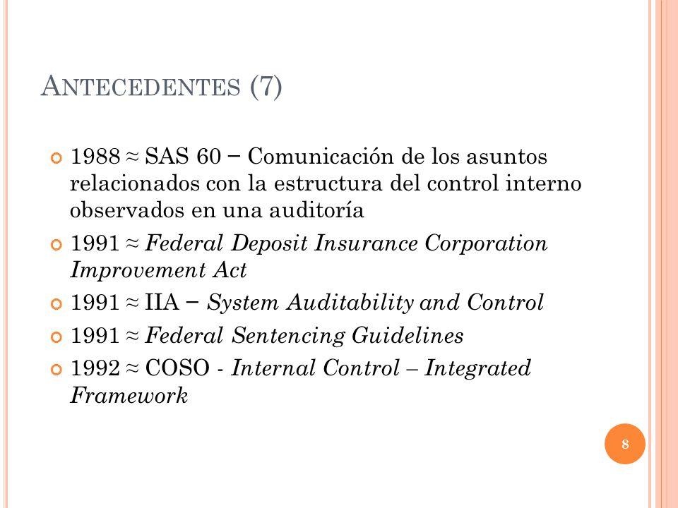 A NTECEDENTES (7) 1988 SAS 60 Comunicación de los asuntos relacionados con la estructura del control interno observados en una auditoría 1991 Federal