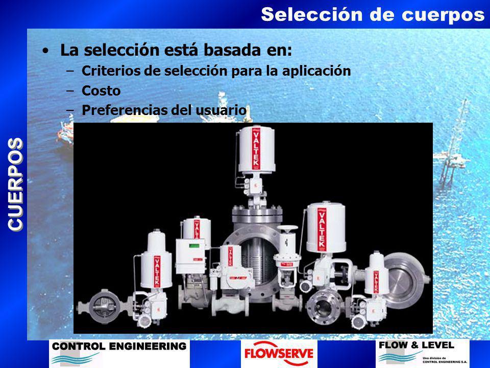 CUERPOS Selección de cuerpos La selección está basada en: –Criterios de selección para la aplicación –Costo –Preferencias del usuario