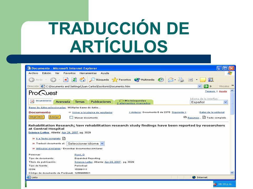 TRADUCCIÓN DE ARTÍCULOS
