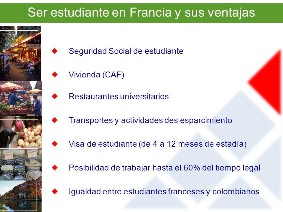 Seguridad Social de estudiante Vivienda (CAF) Restaurantes universitarios Transportes y actividades des esparcimiento Visa de estudiante (de 4 a 12 meses de estadía) Posibilidad de trabajar hasta el 60% del tiempo legal Igualdad entre estudiantes franceses y colombianos Ser estudiante en Francia y sus ventajas